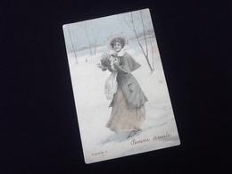 Carte Postale Ancienne Bonne Année Illustrateur H .  Hatzal Deposé N°5 - Año Nuevo