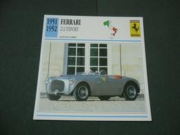CARTOLINA CARD SCHEDA TECNICA  AUTO  CARS  FERRARI 212 EXPORT - Altre Collezioni