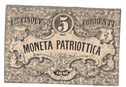 Venezia 5 Lire Moneta Patriottica 1848 Firma Barzilai  LOTTO 1634 - [ 4] Emisiones Provisionales