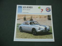 CARTOLINA CARD SCHEDA TECNICA  AUTO  CARS  ALFA ROMEO 1900 SS ZAGATO - Altre Collezioni