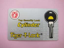 Cylinder Security Lock  Card(Tiger T Lock) - Phonecards