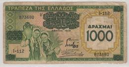 GRECE 1000 Drachmes 1939 P111a VG - Greece