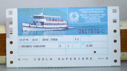 Nave Battello Boat Biglietto Navigazione Laghi Isola Superiore Italia 1995 - Europa