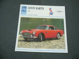 CARTOLINA CARD SCHEDA TECNICA  AUTO  CARS   ASTON MARTIN DB4 - Altre Collezioni