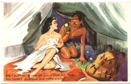 CPSM HUMOUR. ILLUSTRATION L. CARRIERE. PIN'UP. CAMPING - Humour