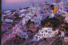 GRECIA - SANTORINO - PANORAMA - FORMATO GRANDE 16X11 - VIAGGIATA 2003  FRANCOBOLLO ASPORTATO - Grecia