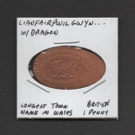 Pressed Penny, Elongated Coin, Lianfairpwilgwyn..., England - Souvenirmunten (elongated Coins)