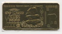 Zimbabwe 100 Trillion Dollars 24K Gold-Plated Bullion Bar - Zimbabwe