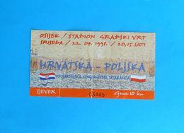 CROATIAvs POLAND - 1998. Intern. Football Match Official Ticket * Soccer Fussball Calcio Foot Piłka Nożna Polska - Tickets D'entrée