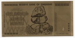 Zimbabwe, 100 Trillion Dollars, 24K Gold-Plated Banknote. - Zimbabwe