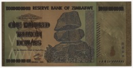 Zimbabwe, 100 Trillion Dollars, 24K Gold-Plated, Colored Banknote - Simbabwe