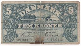 Denmark, 1940, Fem Kroner, Banknote - Danemark