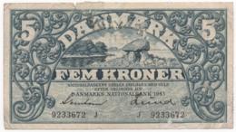 Denmark, 1943, Fem Kroner, Banknote - Danemark