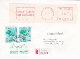 SFS On Cover: Aaland Registered Posted Mariehamn 1984  (G94-41) - ATM - Frama (viñetas)