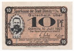Germany 1921, 10 Pfennig, Dömitz, Notgeld, UNC - [11] Lokale Uitgaven