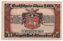 Germany 1922, 2 Mark, Bad Albersdorf, Notgeld, UNC - [11] Lokale Uitgaven