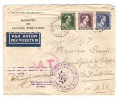 PR7073/ TP 642--643-646 Léopold Col Ouvert S/L.Avion Ministère Affaires Etrangères C.BXL 1945 O.A.T. V.USA - WW II
