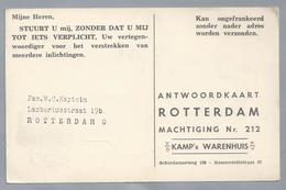 NL.- ROTTERDAM. St. Laurenstoren. ANTWOORDKAART Van V/d KAMP'S WARENHUIS N/V. - Monumenten