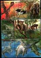 74827) Guyana 4146-4154 SERIE COMPLETA USATA 1993 Extant E Extinkt Flora ANIMALI E FIORI ESTINTI - Guiana (1966-...)