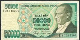 TURKEY P203 50.000 LIRA   1989 VF - Turquie