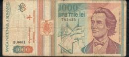 ROMANIA  P102 1000 LEI 1993 LOW S/n  #B0001 FINE NO P.h. - Roumanie