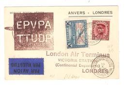 PR7075/ TP 317 + PR30 S/CP Avion Anvers - Londres C.Antwerpen Luchtpost 1931 V.London Air Terminus - Postmark Collection