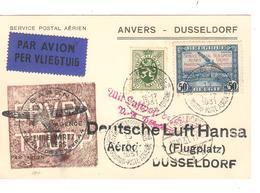 PR7077/ TP 283 + PR34 S/CP Avion Anvers - Londres C.Antwerpen Luchtpost 1931 V.Dusseldorf - Postmark Collection