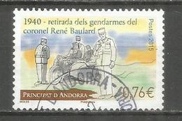 ANDORRE. Moto Side-car De La Gendarmerie En 1940, Un Timbre-poste Oblitéré,  1 ère Qualité, Cachet Rond - Usados