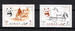 "Ajman - 1967.Cavallo E Cammello. The Two  Values ""Horse And Camel""  Of The Serie. MNH - Horses"