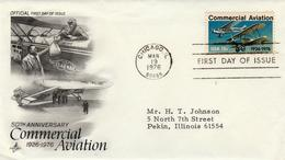 USA - 1976 -FDC - Air Mail Stamp 13c - Art Craft Cachet - Premiers Jours (FDC)