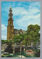 NL.- AMSTERDAM. De Westerkerk. Brug. Gracht. Boot. 1977. Old Cars. - Kerken En Kathedralen