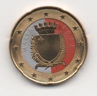 Malta, 2008, 20 Euro Cent, Color, 24K Gold-plated, UNC - Malte