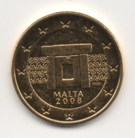 Malta, 2008, 5 Euro Cent, 24K Gold-Plated, UNC - Malta