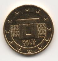 Malta, 2008, 2 Euro Cent, 24K Gold-Plated, UNC - Malte