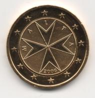 Malta, 2008, 2 Euro, Maltese Cross, 24K Gold-Plated, UNC. - Malta