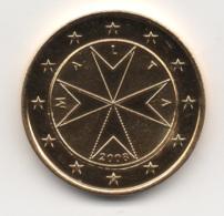 Malta, 2008, 1 Euro, Maltese Cross, 24K Gold-Plated, UNC. - Malta
