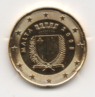 Malta, 2008, 20 Euro Cent, 24K Gold-Plated, UNC. - Malte