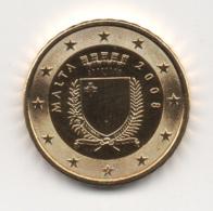 Malta, 2008, 10 Euro Cent, 24K Gold-Plated, UNC. - Malta