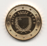 Malta, 2008, 10 Euro Cent, 24K Gold-Plated, UNC. - Malte