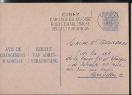 Doc. De  CINEY Capitale Du Condroz  1965  Sur Chgt D'adresse - Postmark Collection