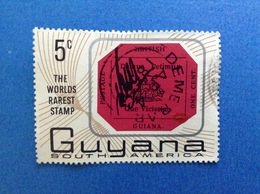 GUYANA GUIANA SOUTH AMERICA 5 C THE WORLDS RAREST STMP FRANCOBOLLO USATO STAMP USED - Guiana (1966-...)