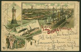 Ansichtskarte Bremerhaven Vorläufer Litho Leuchtturm Schiffe 1895 N. Leipzig - Deutschland
