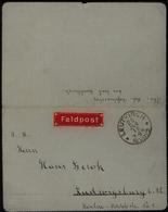 Deutsches Reich Feldpost Brief Roter Aufkleber Leutkirch Ludwigsburg 28.1.1918 - Occupation 1914-18