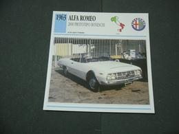 CARTOLINA CARD SCHEDA TECNICA  AUTO  CARS  ALFA ROMEO 2600 PROTOTIPO BONESCHI - Altre Collezioni