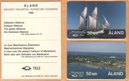 Aland - GPT, 2FINC/D, Alands 1st Edition Cards In Folder, Sailing Ships, Coastal Areas, Port, 25.000ex, 5/90, Mint - Aland