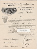 Facture Ets Emile MORIN / Manufacture Tissus Tricots élastiques / Bas Corsets / 75 Paris / Usine à Romilly 10 - France