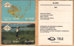 Aland - GPT, 4FINA/B, Aland Island Games In Folder, Golf, Map, 5.000ex, 6/91, Mint - Aland