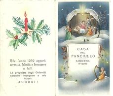 """2108 """" CASA DEL FANCIULLO - APRICENA (FOGGIA)-CALENDARIO 1959 """"  ORIGINALE - Calendriers"""
