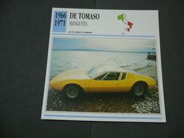 CARTOLINA CARD SCHEDA TECNICA  AUTO  CARS DE TOMASO MANGUSTA - Altre Collezioni