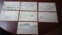 1902 BATZ SUR MER LE CROISIC 7 AQUARELLES DE ANDRE VARENNES (1882 - 1972) Format 12,5 X 21,5 Cm Env. /FREE SHIPPING R - Aquarelles